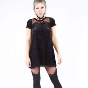 Cave Creeps Sweetheart Tunic Dress Black velvet